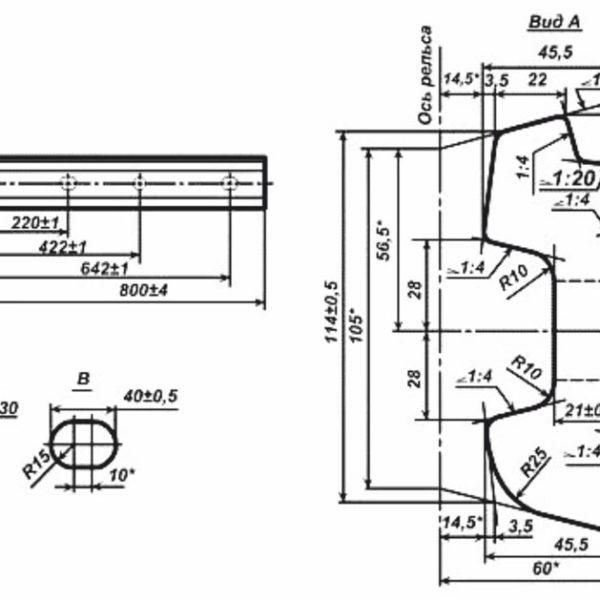 чертеж стыковой накладки 2Р-65